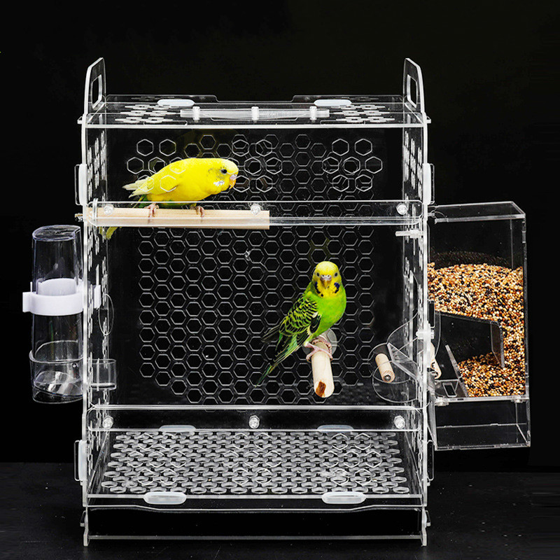 1 pcs Pet cage à oiseaux perroquet cage d'élevage de peau de tigre pivoine nuage acacia oiseau petit acrylique oiseau cage AP11261526