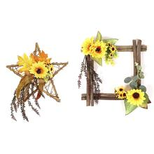 Sunflower Decorative Wooden Wall Hanging Home Decoration Door Garden Simulation Pendant