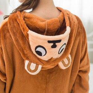 Image 4 - Adulto Kigurumi Onesie Anime mujeres disfraz Brown Monkey Halloween Cosplay dibujos animados Animal ropa de dormir invierno cálido pijama con capucha