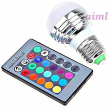 E26/E27 3 W 1 High Power LED 180 LM RGB Remote-Controlled Globe Bulbs AC 85-265 V