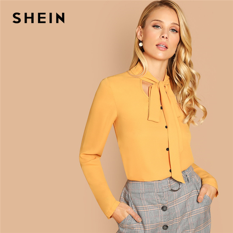 6a41f78463f2 Detail Feedback Questions about SHEIN Mustard Office Lady Workwear Single  Breasted Tie Neck Long Sleeve Solid Shirt Autumn Workwear Women Tops And  Blouses ...