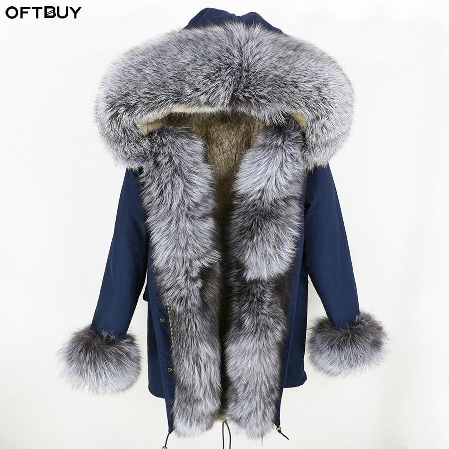 OFTBUY Real Fur Coat Winter Jacket Women Long Parka Natural Silver Fox Fur Collar Hood Real