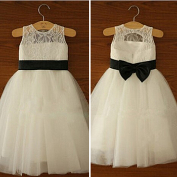 цена на Hot Sale White/Ivory Flower Girl Dresses With Bow High Quality Children Girl Kids Dress for Wedding Communion Party Pageant