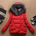 Зимняя куртка женщин длинный мех с капюшоном зимнее пальто женщин хлопка-ватник парка плащ женщин зимняя одежда Большой размер