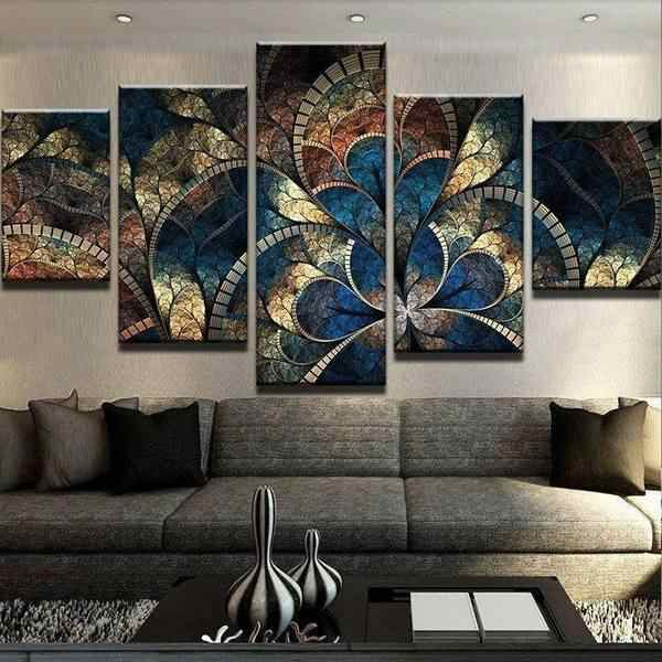 Modular Canvas Poster Wall Artwork Prints Painting Pictures Abstract Flower Home Decoration Modern Bedside Background Framework