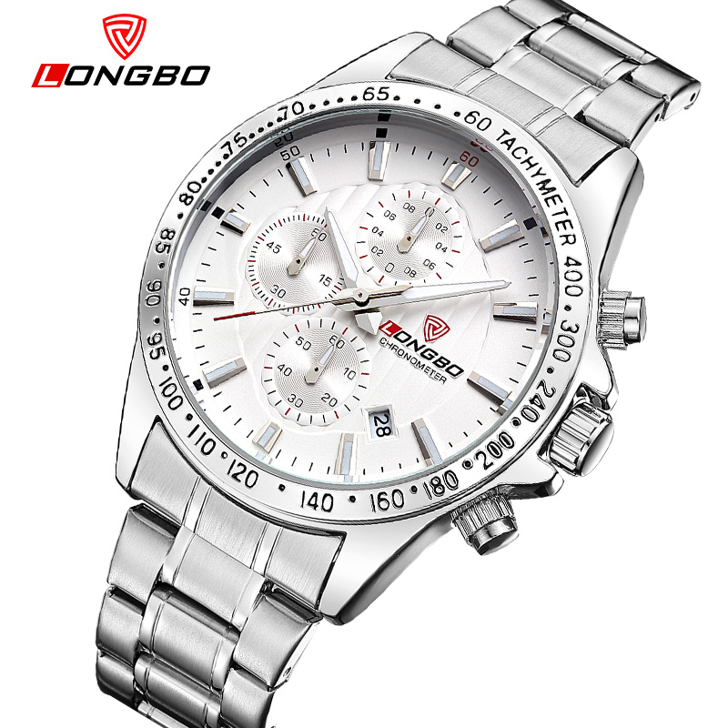 LONGBO Sports 6pin watch male luminous calendar stainless steel wristwatches waterproof large dial quartz watches 80177