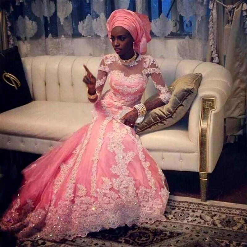 Árabe India rosa Hijab manga larga de la sirena vestido de noche ...