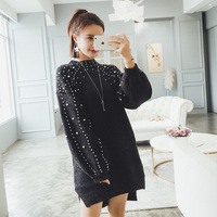 2018 New Arrival Women Grey Pearl Beading Knitted Sweater Dress Irregular Long Knit Sweater Dresses