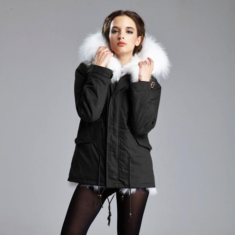 2017 Mulheres de Inverno Quente Essencial cabelo Comprido Casaco de Peles Jaqueta Curta Parka Guaxinim Grande Casaco de Capuz de pele de Raposa Real