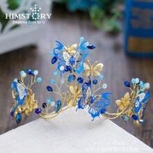 Himstory Elegance Blue Butterfly Bridal Wedding Hairbands Handmade Party Hair Jewelry Headpiece Headband