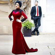 Muslim Evening Dress Mermaid Burgundy Velvet Modest Long Sleeve High Neck Hijab Evening Formal Dresses vestido branco 2017