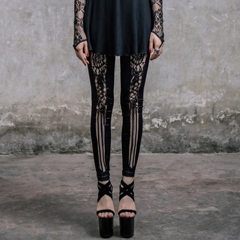 Devil Fashion Gothic Sexy Hollow Out Women Lace Leggings Steampunk Black Lace-up Legging Pants black hollow out stretchable leggings