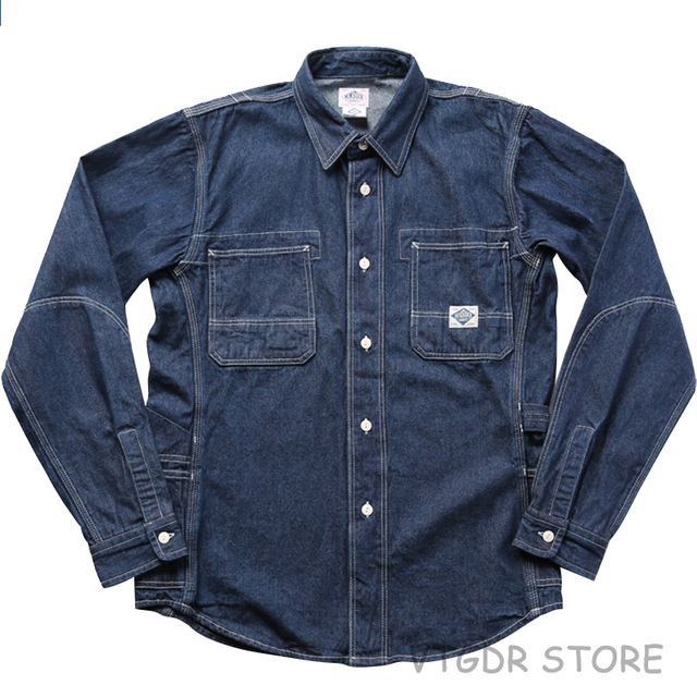 3c26c97d3b Non Stock 8.5oz Denim Engineer Work Shirt Blue Retro Long Sleeve Men s  Casual Jean Shirt