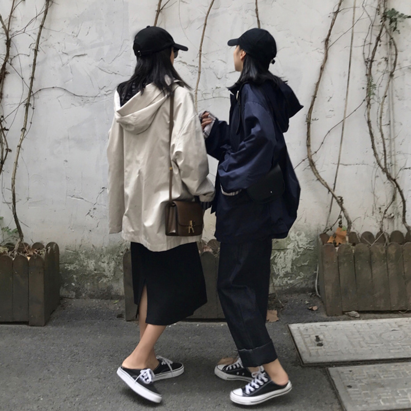 Women 2019 Spring And Autumn Fashion Brand Korea Style Solid Color Hooded   Trench   Female Casual Khaki Long Coat   Trench   Cloth