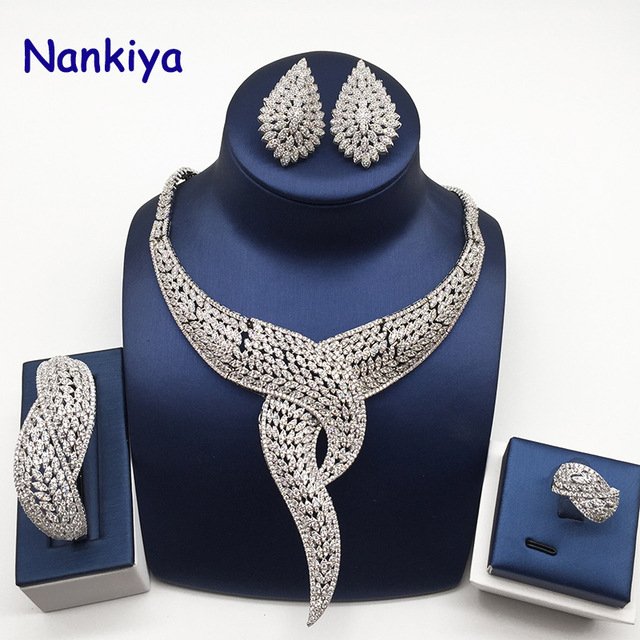 Nankiya Luxury Twist Plant Shape Women Nigerian Wedding Jewelry Sets African Costume Big 4pc Set Romantic Factory Price NC764
