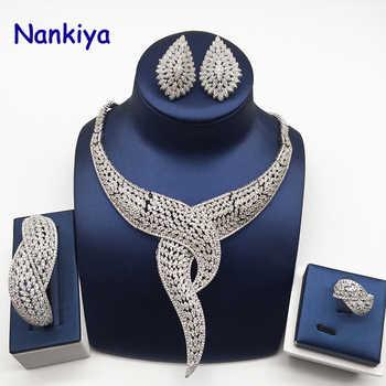 Nankiya Luxury Twist Plant Shape Women Nigerian Wedding Jewelry Sets African Costume Big 4pc Set Romantic Factory Price NC764 - DISCOUNT ITEM  50% OFF All Category