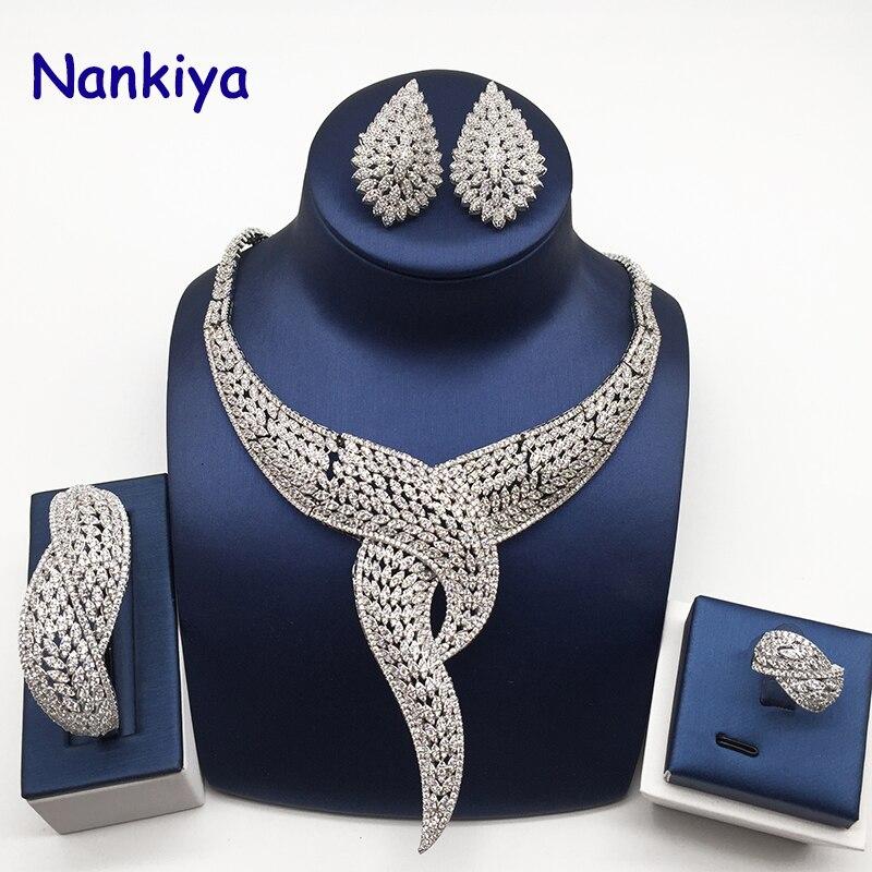 Nankiya Luxury Twist พืชรูปร่างผู้หญิงไนจีเรียงานแต่งงานชุดเครื่องประดับแอฟริกันเครื่องแต่งกายขนาดใหญ่ 4 pc ชุดโรแมนติกโรงงานราคา NC764-ใน ชุดอัญมณี จาก อัญมณีและเครื่องประดับ บน   1