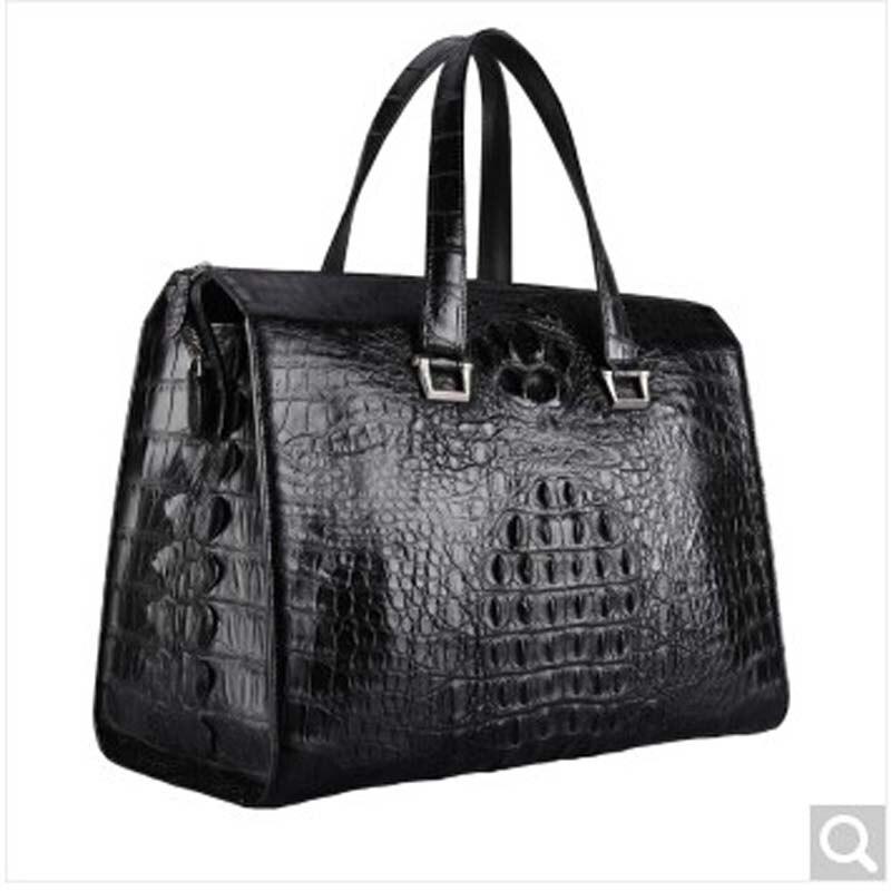 Baosiduワニ革バッグ男性旅行男性バッグ韓国バージョン手荷物バッグ大容量短い旅行ハンドバッグ黒