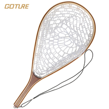 Goture rubber fishing net landing net  bamboo and wooden frame hand net for fly fishing