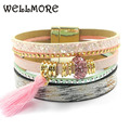 pink leather bracelet women charm bracelet  Friendship bracelet  Bohemian bracelets&bangles B1617