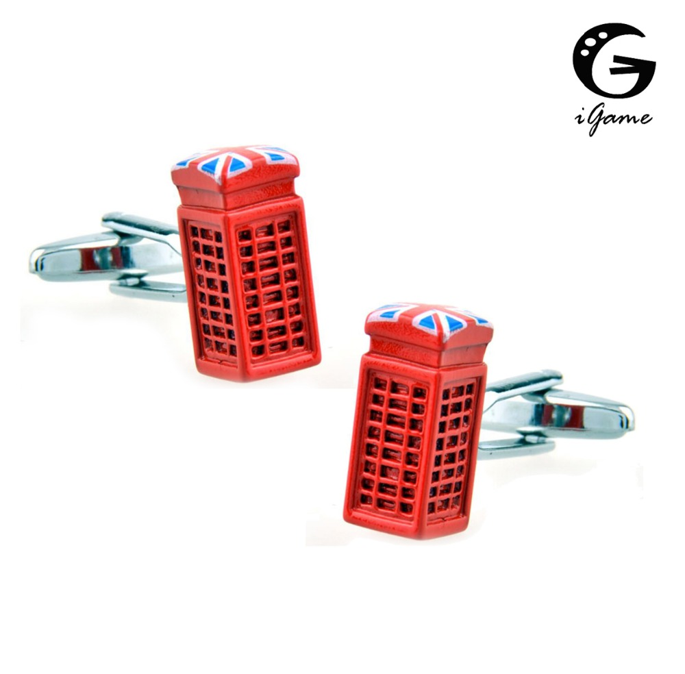 IGame Men's Fashion Cuff Links Brass Telephone Booth Design Union Jack Decoration Call Box Cufflinks Free Shipping