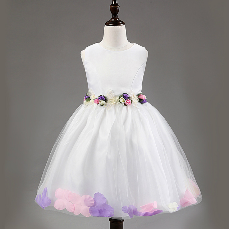 2017 new kids girl dress children girl sleeveless petals seam princess dress party or wedding formal fashion dress