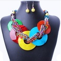 Brand fashion Bohemian color shells collar earrings necklace wedding jewelry sets pendants&neckalces african beads