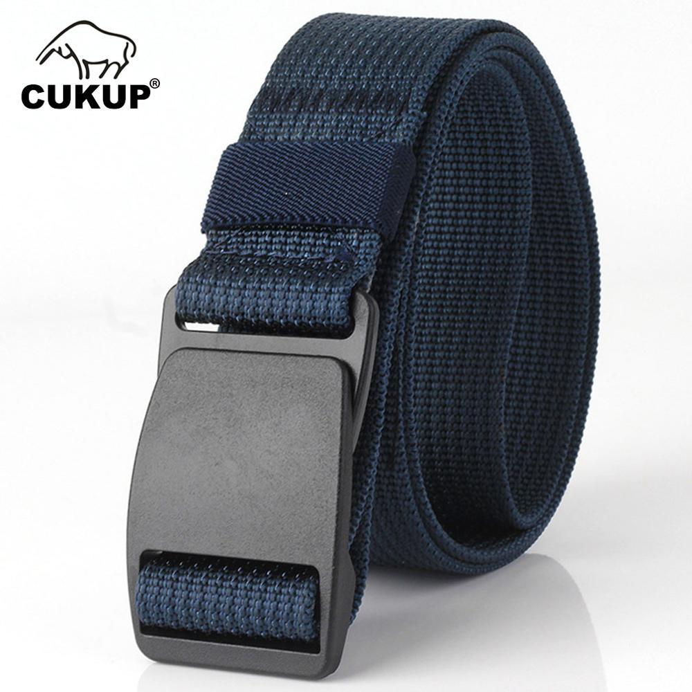 CUKUP Anti Allergy Waistband   Belts   without Metal Security Nylon Outdoor Thickening Plastic Buckle Male Casual   Belt   3.8cm CBCK073