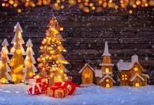 Laeacco Winter Snow Wooden Board Christmas Tree Light Bokeh Baby  Photography Background Customized Backdrop For Photo Studio
