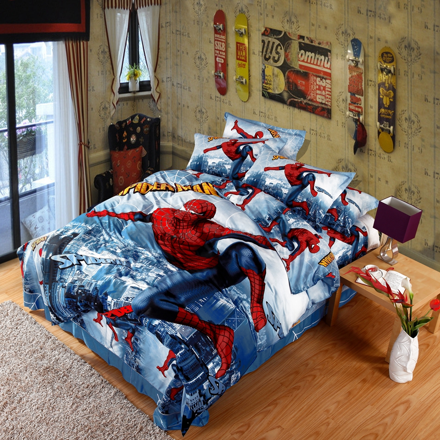 100 cotton anim bedding set with spider man pattern 4pcs duvet cover set