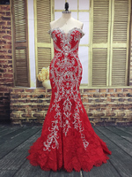 BRITNRY Hot Sales Luxury Red Mermaid Wedding Dresses Lace Off The Shoulder Beading Crystal Pearls Bride Dress Real Photos