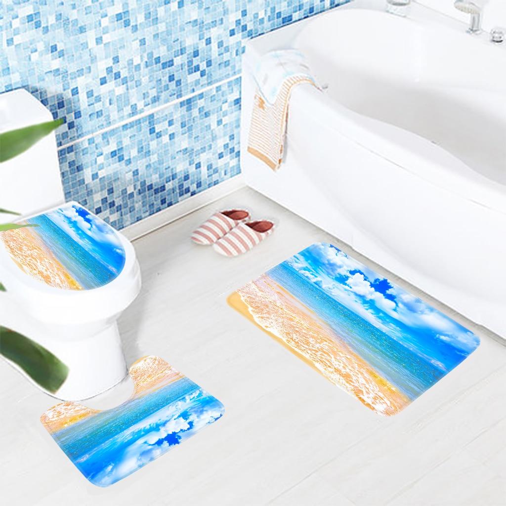 3pcs Bathroom Mat Set Beach Blue Sea White Cloud Pattern Bath Mat ...