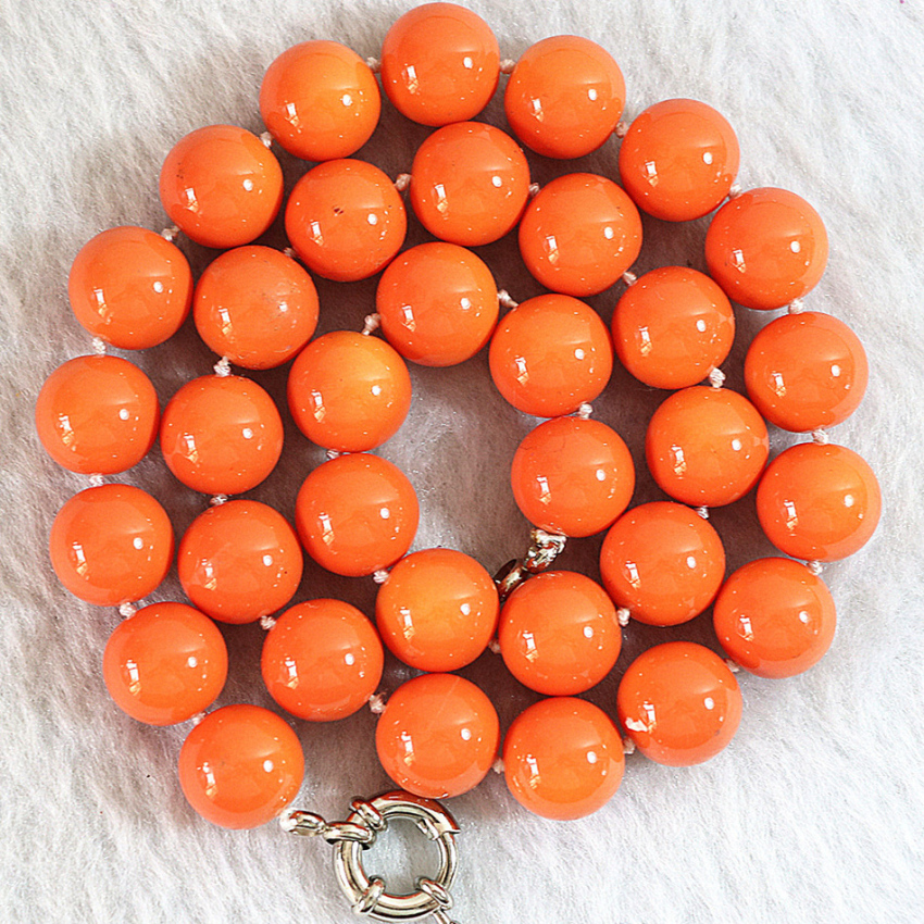 Natural orange coral 8mm round beads elegant women chains rope necklaces hot sale jewelry making 18inch B638