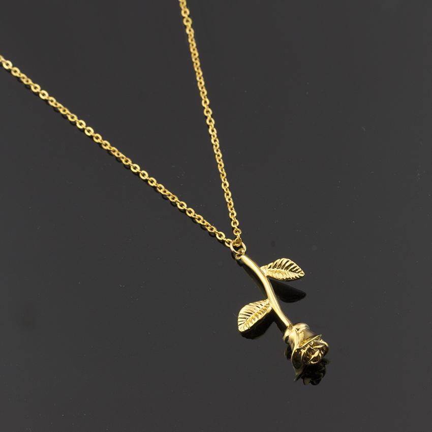 HTB1DranQFXXXXaSXVXXq6xXFXXXq - New Pink Gold Rose Flower Necklace Women