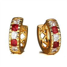 цены Fashion Party Zircon Earrings Accessories Women Brand Sapphire Swa Crystal Earrings Gold Plated Stud Earrings for Women