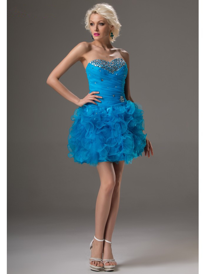 Royal Blue Cocktail Dresses Elegant A-line Sweetheart Organza Beaded Crystals Party Plus Size Homecoming Dresses