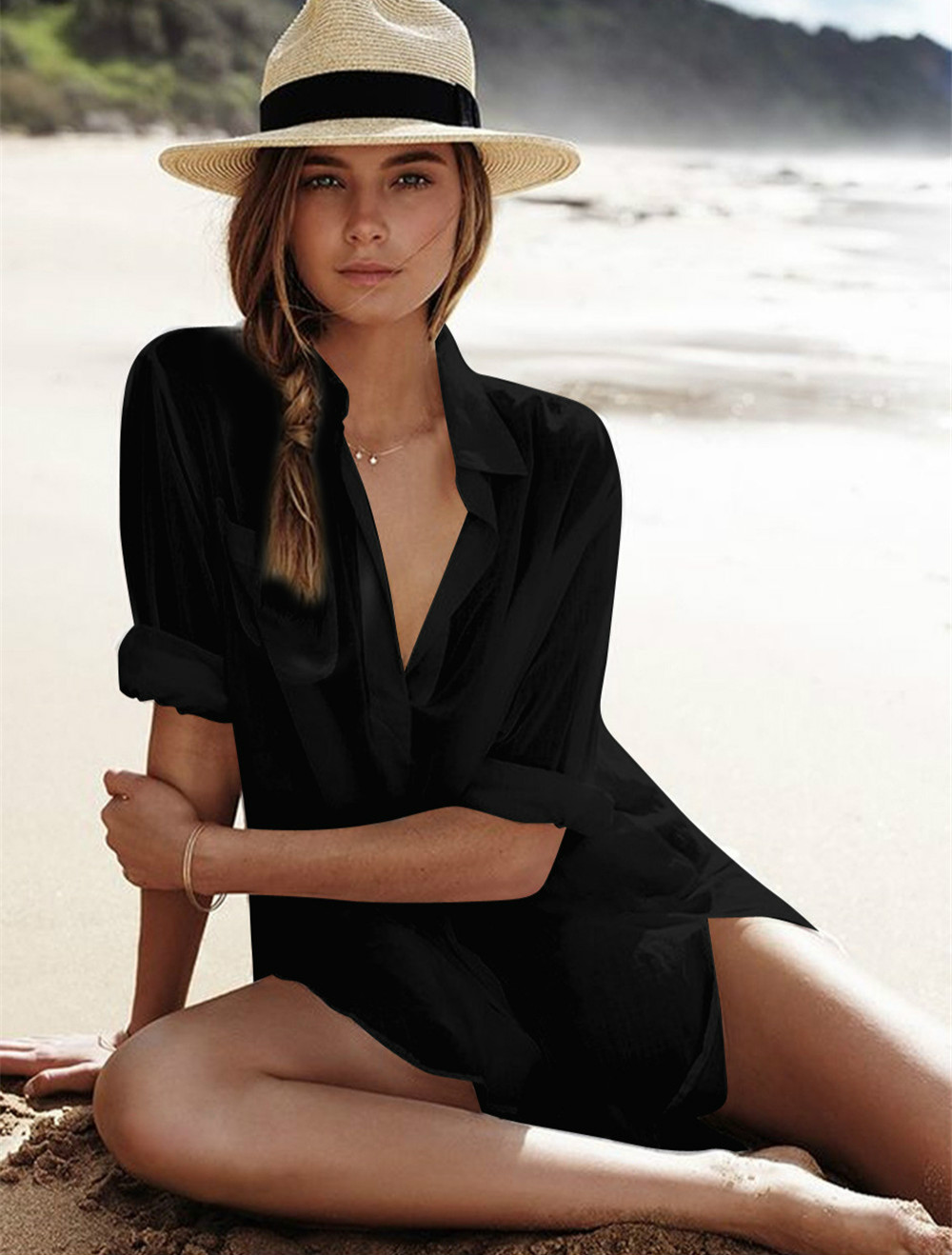 Pareos praia Vestido Túnica Para As Mulheres Kaftan 2019 Novo Camisa De Algodão de Manga Longa Tamanho Sexy Praia Cover Up Pareo Praia