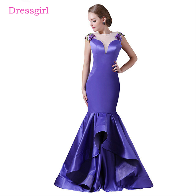 Blue   Evening     Dresses   2019 Mermaid Cap Sleeves Satin Lace See Through Women Long   Evening   Gown Prom   Dress   Robe De Soiree