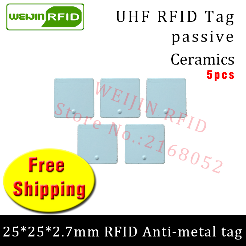 UHF RFID metal tag 915mhz 868mhz Alien Higgs3 EPC 5pcs free shipping 25*25*2.7mm small square Ceramics smart passive RFID tags 2016 trays management anti metal epc gen2 alien h3 uhf rfid tag 50pcs lot