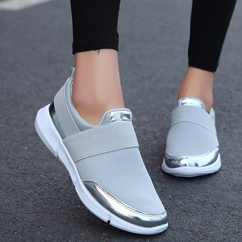 אביב סתיו נשים להחליק על ופרס גבירותיי מקרית נוח דירות נקבה לנשימה למתוח בד נעלי האופנה Zapatillas