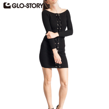 GLO-STORY Women Sweater Bandage Dress Fashion Knit Solid Long Sleeve Party Bodycon Sweater Dresses for Female 4958