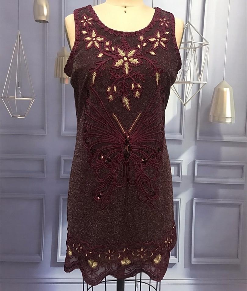 Plus Size Women Party Dress O-Neck Sleeveless Embroidery Butterfly Flower Filigree Sequin Dress Scalloped Hem Mini Tank Dress