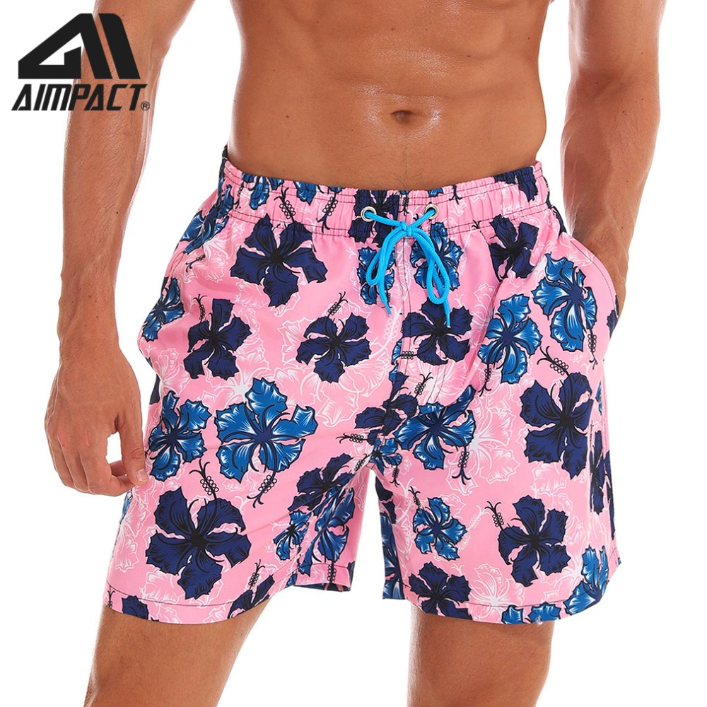 Aimpact Men's Quick Dry Hybird   Board     Shorts   Casual Homewear Holiday Cute Flower Plus Size Beachwear Surf Male Swim Trunks AM2190