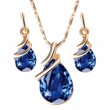 17KM Fashion Water Drop Crystal Jewelry Set For Women Geometric Pendant Necklace Lady Dangle Earrings Fashion Engagement Gifts