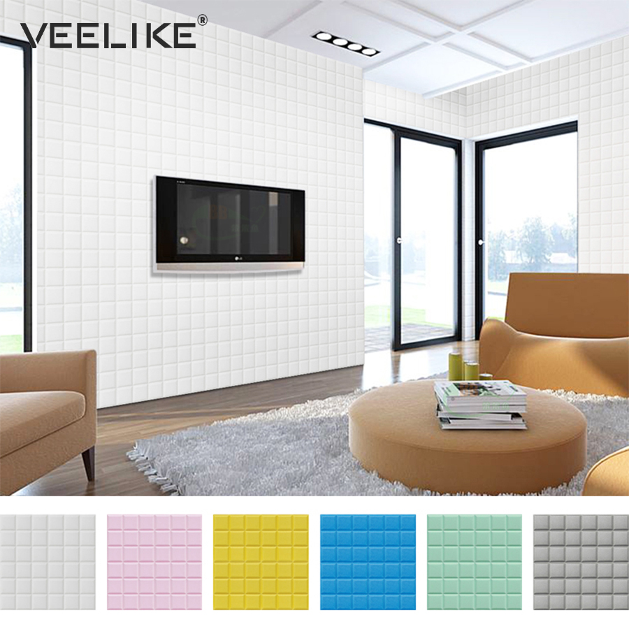 Us 7 99 40 Off Thick Self Adhesive 3d Wall Panels Diy Pe Foam Protective Wall Sticker Waterproof Wallpaper Living Room Bedroom Home Wall Decor In