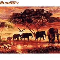 RUOPOTY Слоны пейзаж DIY Цифровая живопись по номерам Современная Настенная живопись на холсте уникальный подарок для домашнего декора 60x75 см