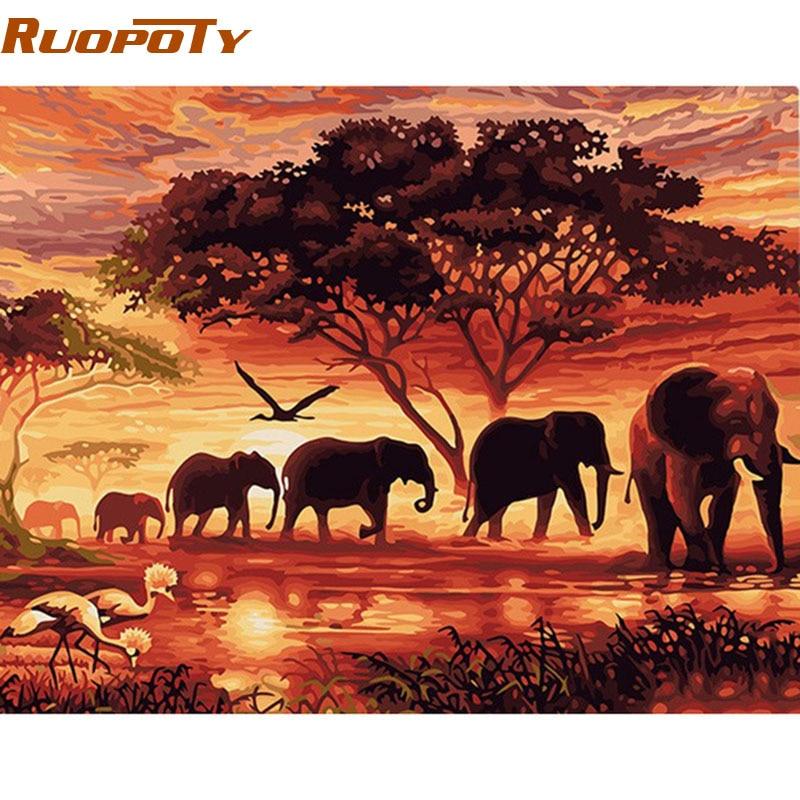 RUOPOTY Elefanti Paesaggio Pittura Digitale di DIY Dai Numeri Moderna di Arte Della Parete della Tela di canapa Pittura Regalo Unico Per La Decorazione Domestica 40x50 cm