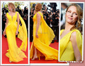 Cannes Glamorous See Through Yellow Long Chiffon Cheap Red Carpet Celebrity Evening Dresses 2014