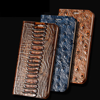 Ostrich Grain Cover For Huawei Honor 7 Top Quality Luxury Natural Cowhide Genuine Leather Flip Stand Case Card Phone Bag Wallet