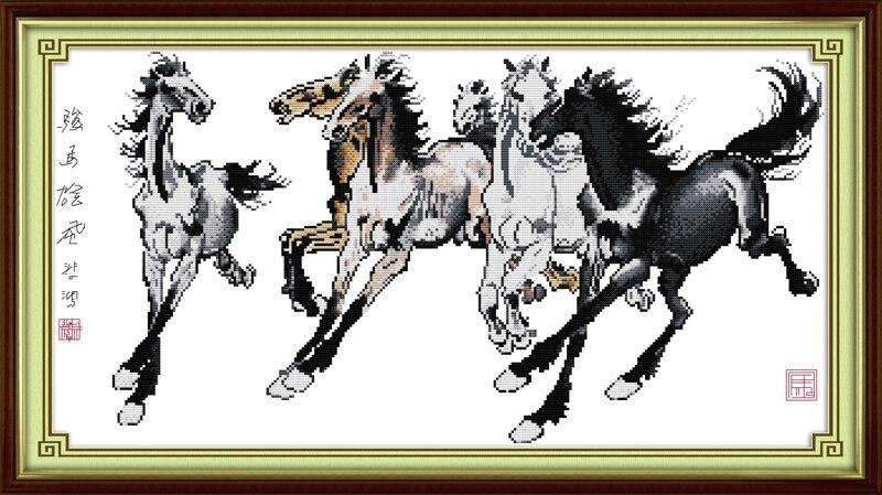 Caballos finos (2) Cruz puntada Kit de dibujos animados lienzo ...